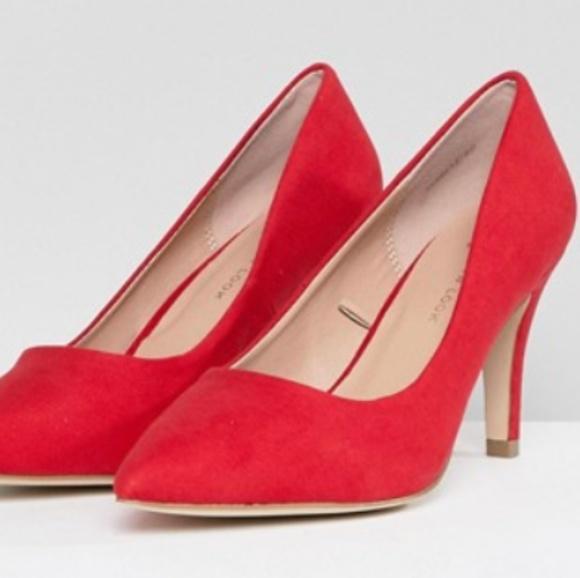 Red Kitten Heels Wide Fit